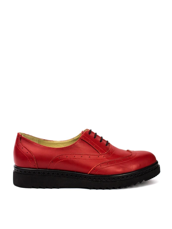 Pantofi Dama piele naturala rosu Milena
