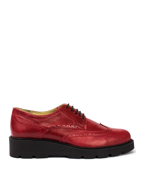 Pantofi Dama piele naturala rosu Valerie