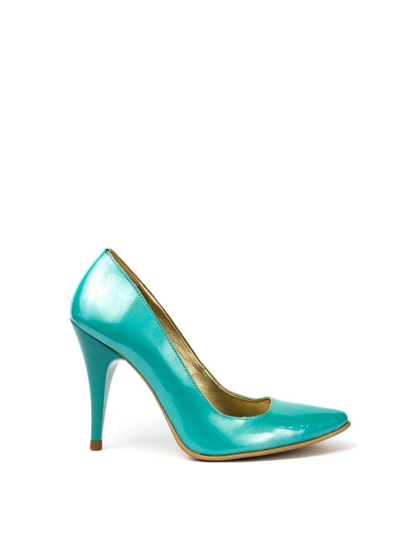Pantofi Dama piele naturala verde Felicia