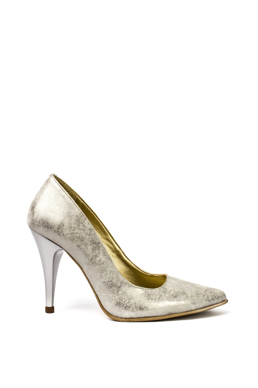 Pantofi Dama piele naturala argintiu Magda