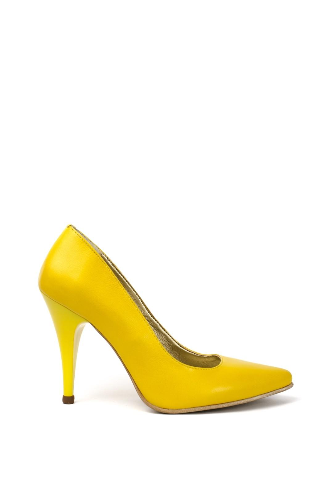 Pantofi Dama piele naturala galben Adelina