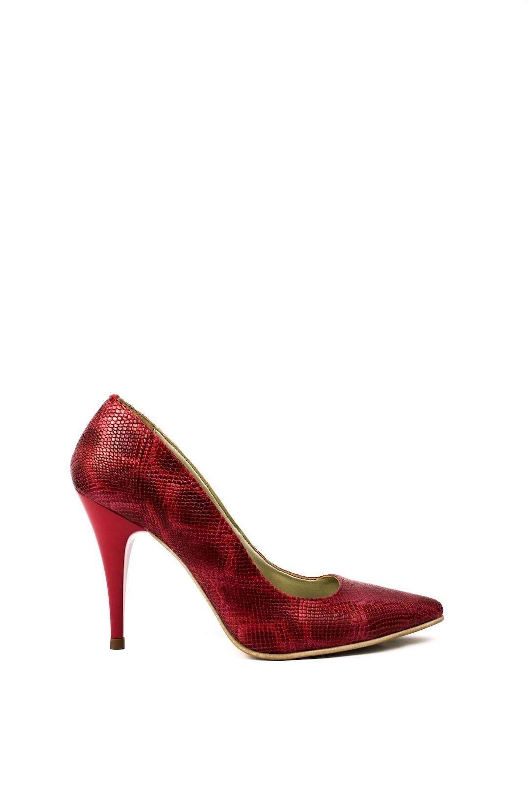 Pantofi Dama piele naturala rosu Rada