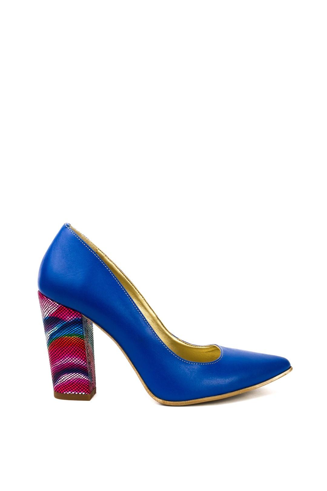 Pantofi Dama piele naturala albastru Sanziana