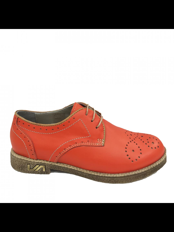 Pantofi Dama piele naturala portocaliu Brandusa