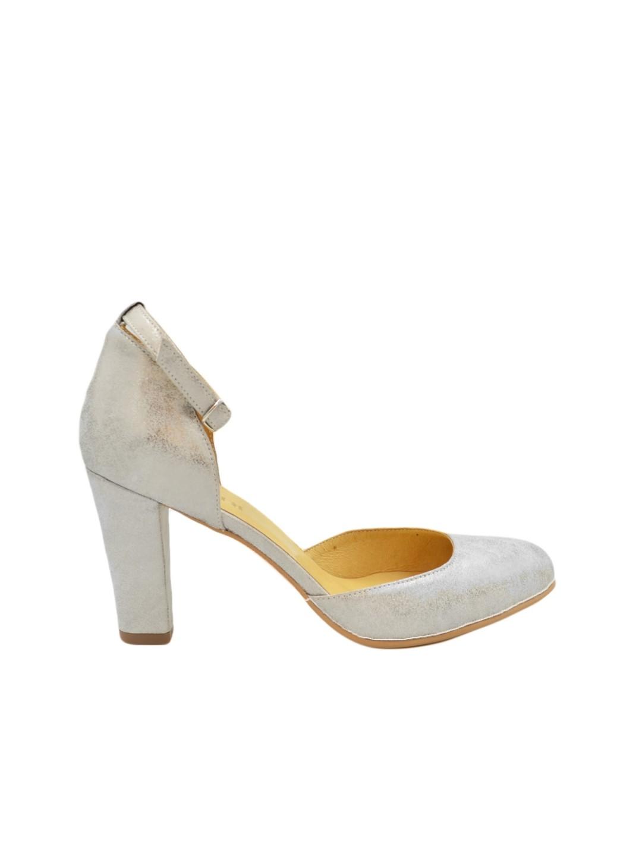 Pantofi Dama argintii toc gros Sylwie