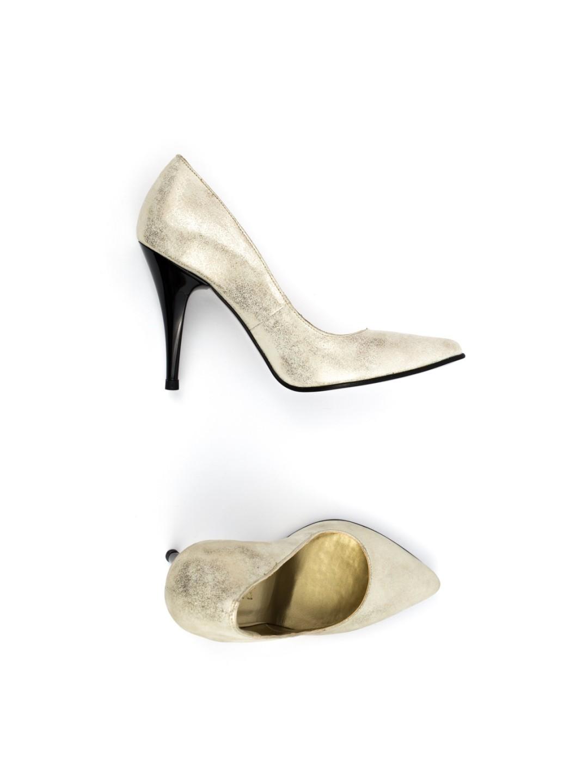 Pantofi Dama piele naturala auriu Sara