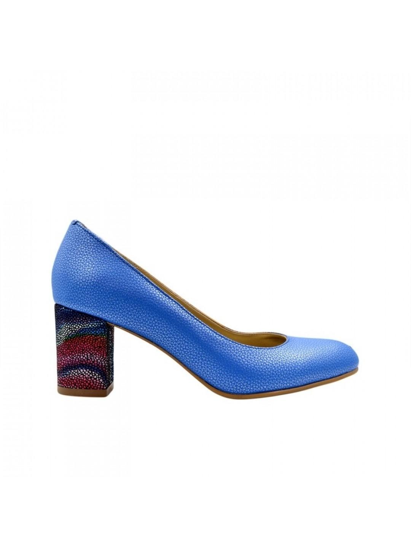 Pantofi Dama piele naturala albastru Sorana