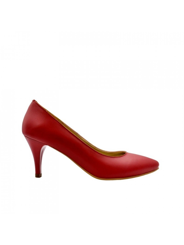Pantofi Dama piele naturala rosu Thea