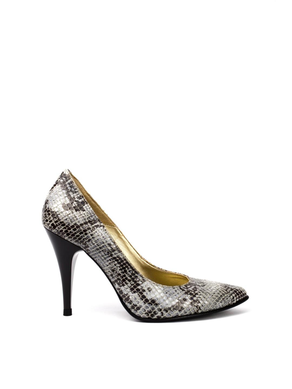Pantofi Dama piele naturala gri Elizabeta