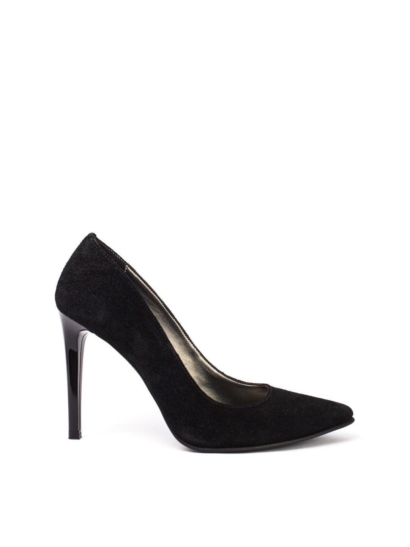 Pantofi Dama piele naturala intoarsa negru Camelia