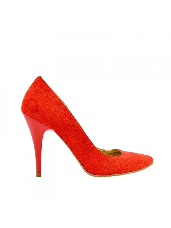Pantofi Dama piele naturala rosu Georgiana