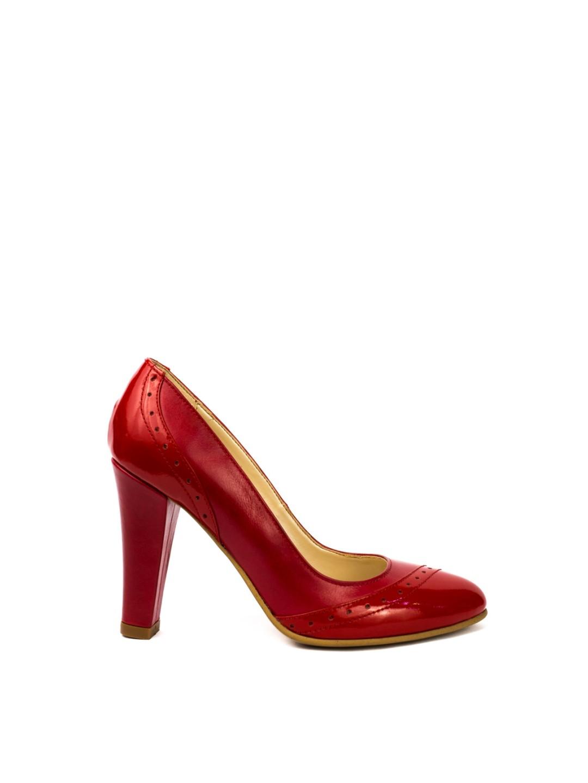 Pantofi Dama piele naturala rosu Mihaela
