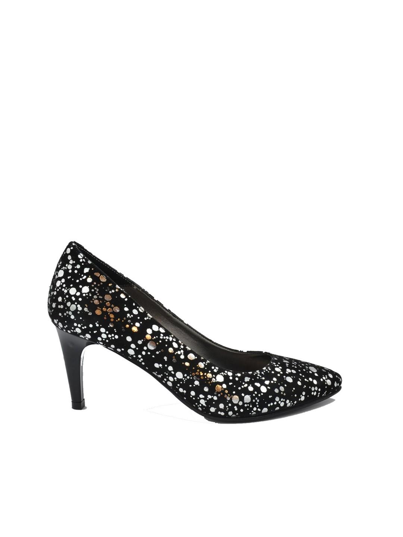 Pantofi Dama piele naturala negru + argintiu Clarette