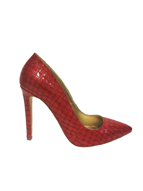 Pantofi Stiletto piele naturala rosii Dalida