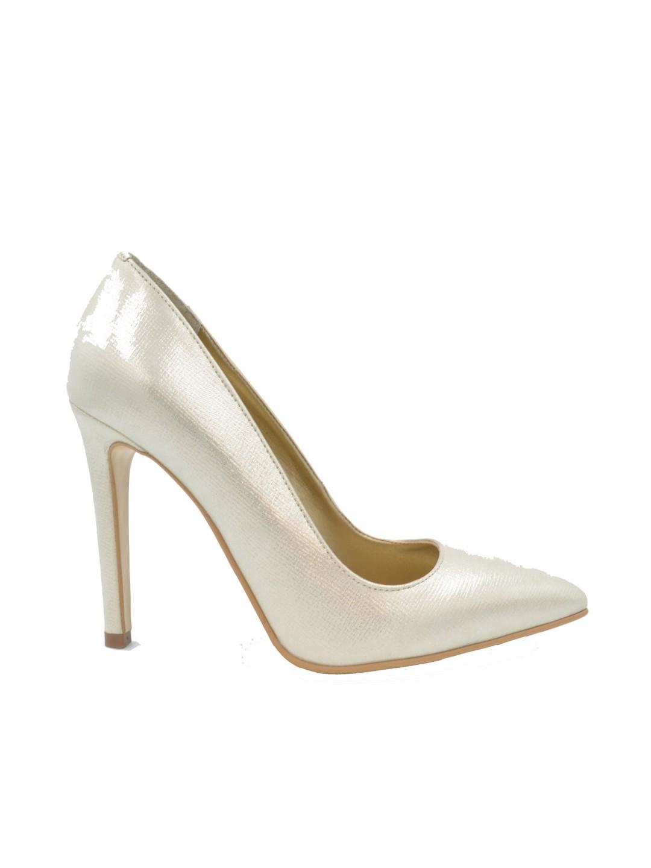 Pantofi Stiletto piele naturala argintii Whithnie