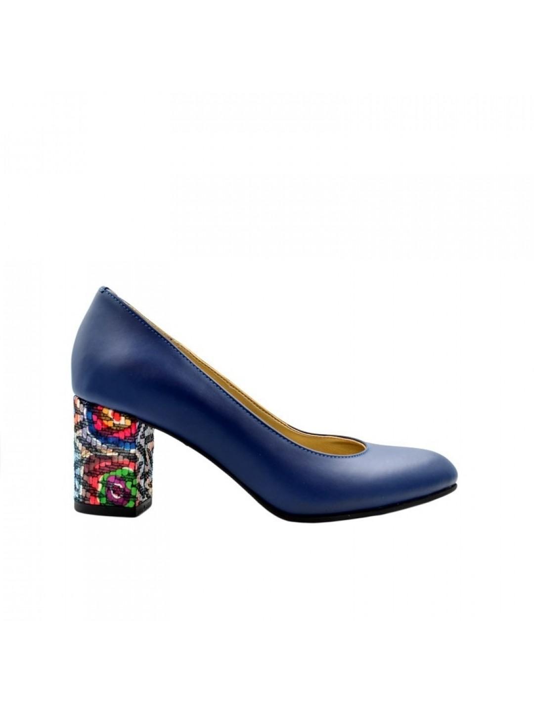 Pantofi Dama piele naturala bleumarin Isabela