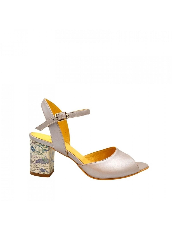 Sandale Dama piele naturala gri sidef Belladonna