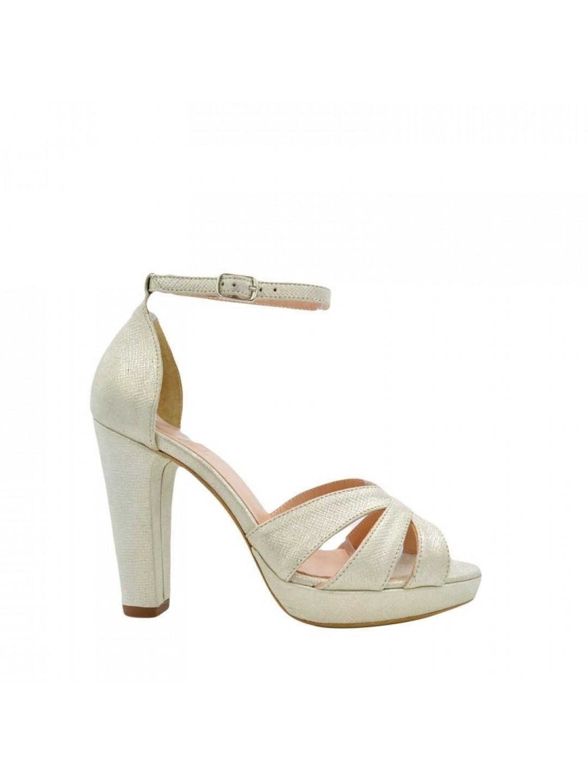 Sandale Dama piele cu platforma argintiu Madalina