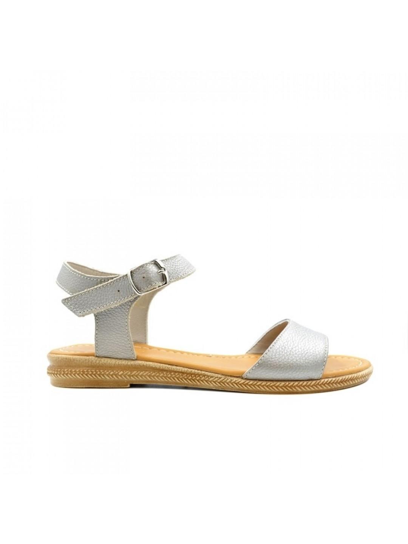 Sandale Dama piele naturala gri sidefat Paola
