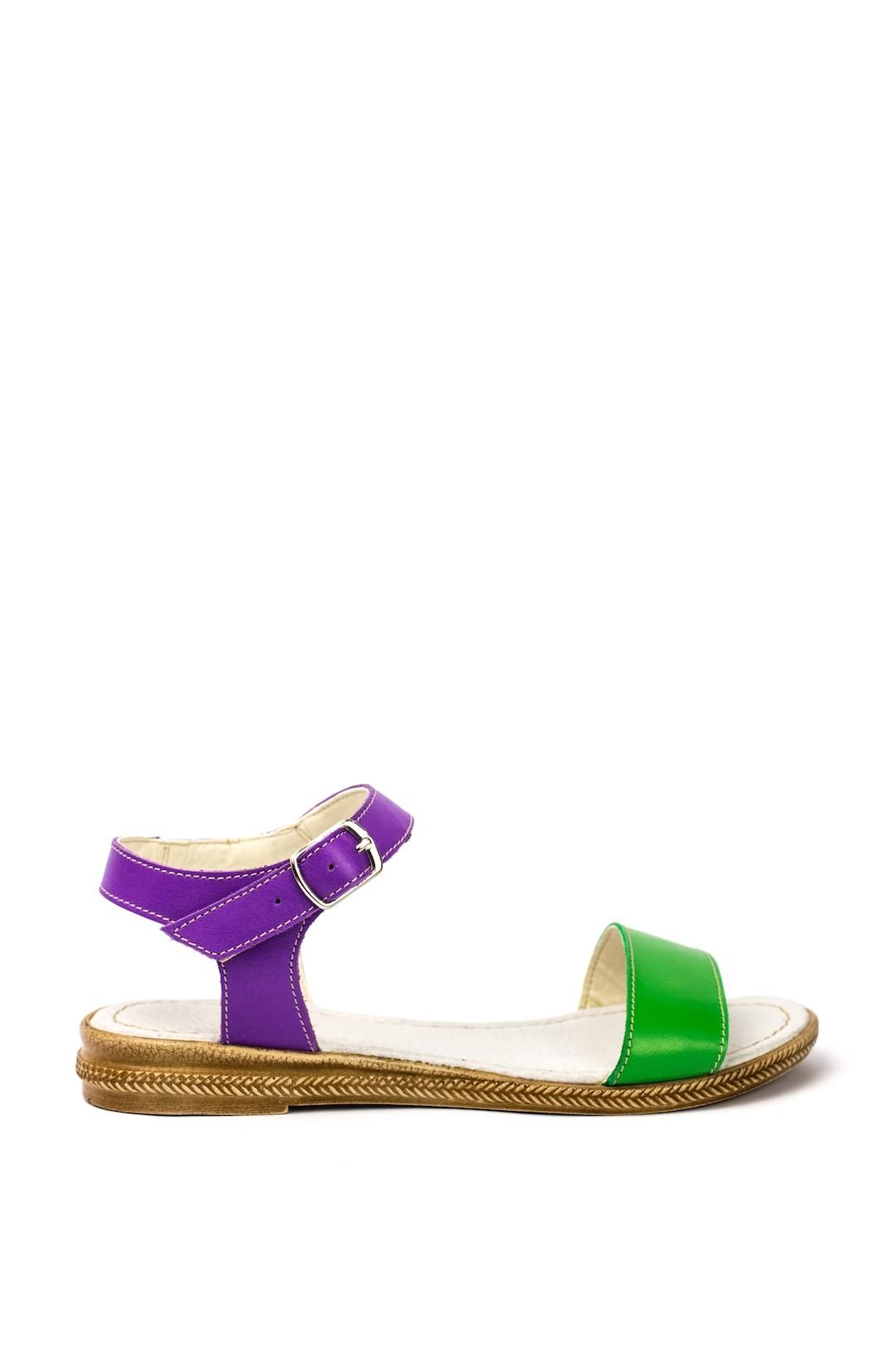 Sandale Dama piele naturala verde mov Coralia